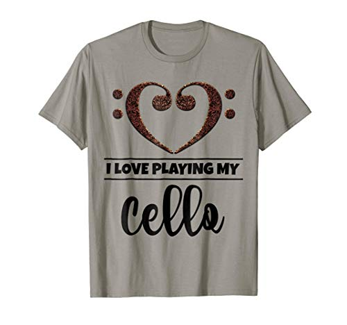 Double Bass Clef Heart I Love Playing My Cello Music Lover T-Shirt