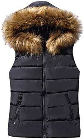 NOMUSING Women Vests Lightweight with Pockets Short Outerwear Cotton-Padded Jackets Faux Hooded Coats with Zipper