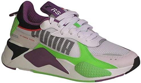 PUMA Kid's RS-X Bold Fluorescent Jr Boys Fashion Sneakers  PWhite/GreenGeck/RoyalLilac 7 Big Kid