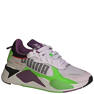 PUMA Kid's RS-X Bold Fluorescent Jr Boys Fashion Sneakers PWhite/GreenGeck/RoyalLilac 4 Big Kid