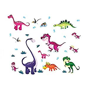 Wall Decal Stickers Dinosaurs Kids Bedroom Nursery Daycare and Kindergarten Mural Home Decor DIY Self Adhesive Removable
