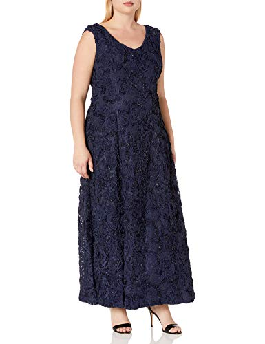 Alex Evenings Women's Plus-Size Cold Shoulder Popover Dress, Navy, 18W