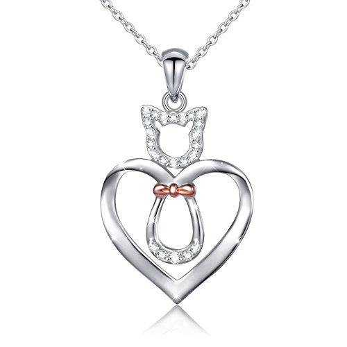 "LINLIN FINE JEWELRY 925 Sterling Silver CZ Cute Cat/Puppy Dog Heart Pendant Necklace Gift for Women Girls,18"" (Cat)"
