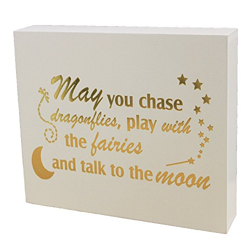 JennyGems Wooden Sign - May You Chase Dragonflies, Play With The Fairies And Talk To The Moon - Friendship Art - Nursery Room Decor - Baby Shower Decoration - Baby Shower Gifts, Fairies Sign