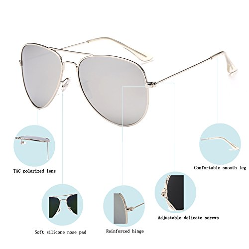 e23a46e952b YuFalling Polarized Aviator Sunglasses for Men and Women (silver  frame silver lens