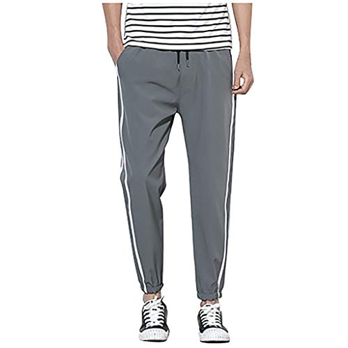 (Men's Workout Tapered Pants|Men Relaxed Fit Gym Jogger Side Striped Training Trousers |Casual Comfy Drawstring Running Athletics Sweatpants)