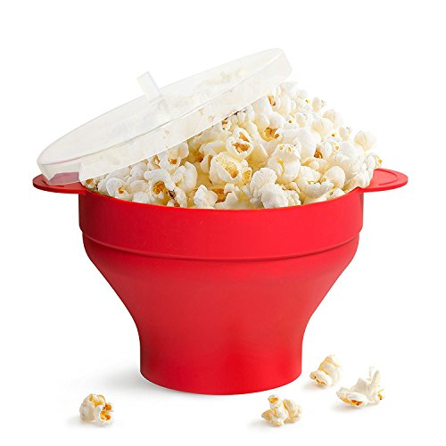 Independence Air - Microwave Popcorn Popper Collapsible Popcorn Maker Bowl Silicone Hot Air Pop Corn Bowl with Lid and Convenient Handles Gift for Independence Day - Red