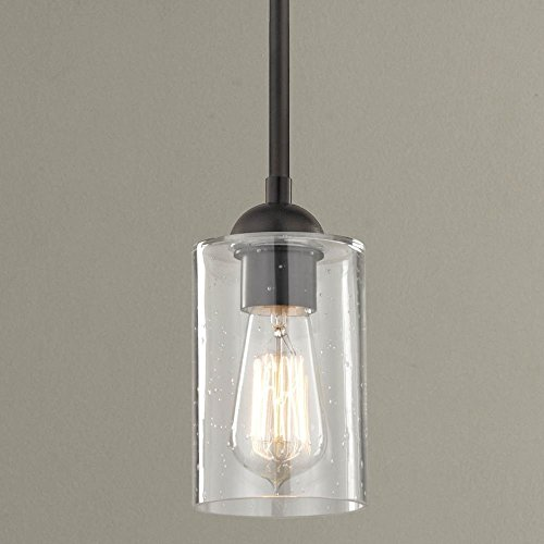 Pendant 4in (Industrial Seeded Glass Mini Pendant Light Bronze)