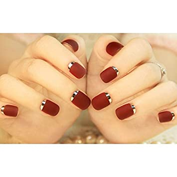 Renovatio Store - Wine Red Frosted Fake Nails Tips Black Square Gradient False Nail Medium Full