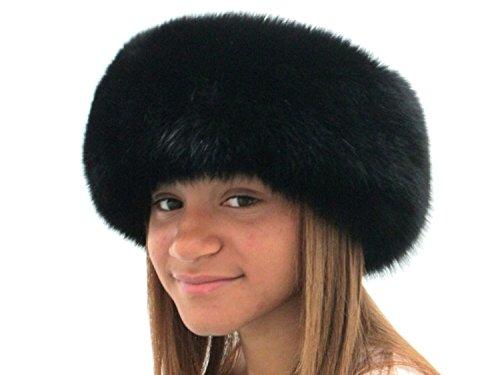 4 inches Dyed Black Fox Headband by FursNewYork