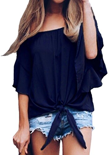 (Shawhuwa Women's 3/4 Bell Sleeve Off Shoulder Front Tie Knot Blouse Tops Solid Black XL)