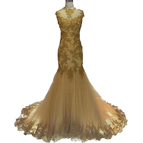 DingDingMail High Neck Lace Mermaid Gold Prom Dresses With Cap Sleeves Backless Evening Dresses Bridal Gowns by DingDingMail
