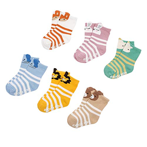 6 Pairs Baby Boys Girls Cotton Socks Non-Slip Cartoon Animal Strips Low Cut Socks for Infants & Toddlers & Kids for 1-2 years