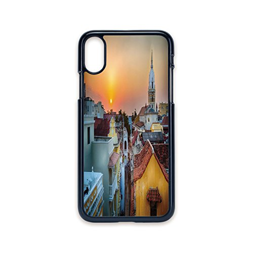 Phone Case Compatible with iPhone X 2D Print Black Edge,Sunset,View Over The Rooftops of The Old City Cartagena Cathedral Colombian Coast Picture Decorative,Multicolor,Hard Plastic Phone Case