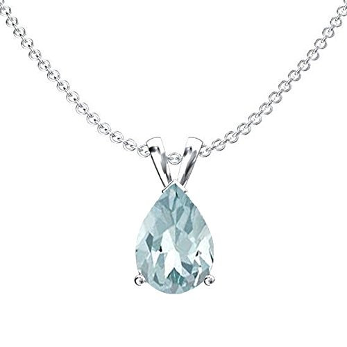 (Dazzlingrock Collection 10K 9x7 mm Pear Cut Aquamarine Ladies Solitaire Pendant (Silver Chain Included), White)