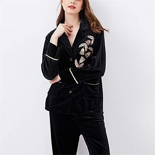 Traje Casero Black Moda Invierno Oro Camisa Damas Servicio Terciopelo Otoño Leeqn Pijama Caliente Bedgown qfwy1BZ6