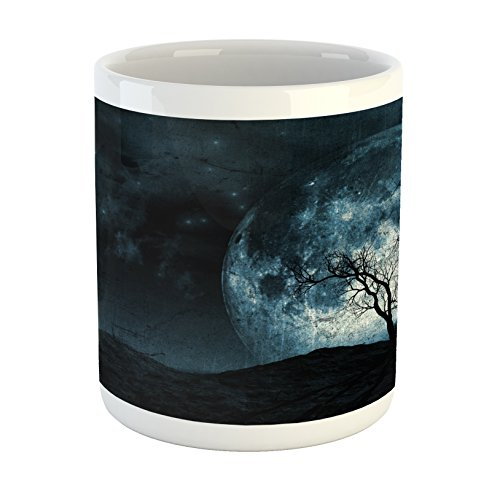 (Lunarable Fantasy Mug, Night Moon Sky with Tree Silhouette Gothic Halloween Colors Scary Artsy Background, Printed Ceramic Coffee Mug Water Tea Drinks Cup, Slate)