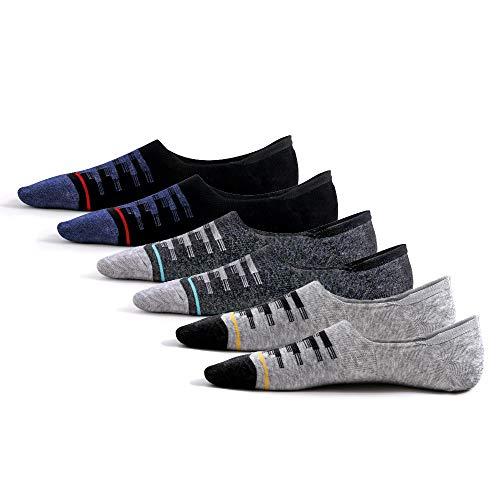 DistrictMaster Unsichtbare Sneaker Socken Herren Damen (6 Paar), Baumwoll Business Sneaker Schwarz Grau Socken Herren 43-46