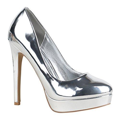 Stiefelparadies Damen Plateau Pumps mit Pfennigabsatz Flandell Silber Lack