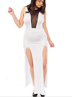 5ee44e7e52e Red Dot Boutique 8007 - Sexy Mesh Cleavage Sleeveless Slit Club Maxi Dress