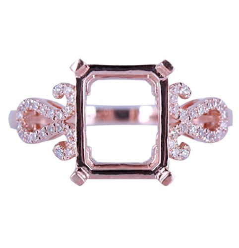 (GOWE 10x8mm Emerald Cut Semi Mount Pave Natural Diamond Ring Setting Solid 14K Rose Gold Engagement Wedding Fine Jewelry Ring)