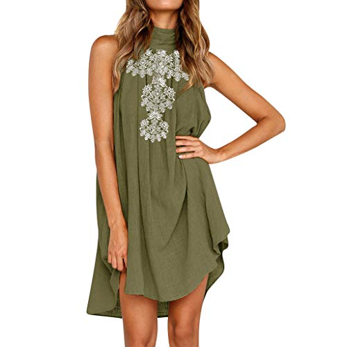 (Tantisy ♣↭♣ Women Sleeveless High Neck Solid Dress Ladies Summer Irregular Hem Flax Loose Casual Party Beach Dress)