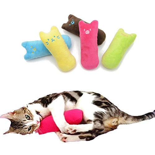 hot sale UEETEK Creative Cute Cat Scratching Toy Cat Chew Toys Teeth Grind Claws Pillow with Catnip (Rose Red)