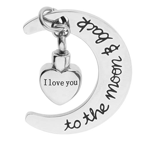 - Stainless Steel Memorial Cremation Urn Jewelry Pendant Ash Holder Moon Heart Necklace Jewelry Crafting Key Chain Bracelet Pendants Accessories Best