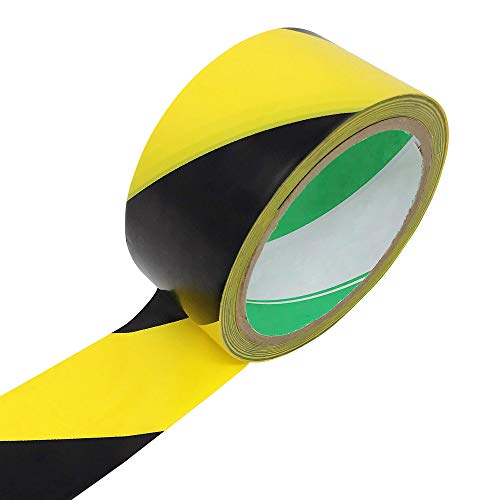 Rusoji Black and Yellow Color Diagonal Stripe Self-Adhesive Vinyl Caution Tape Roll for Hazard and Safety Warning, 1-7/8 inch by 59 ft
