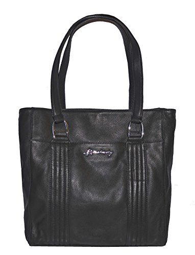 B Makowsky Leather Quilted NS Tote Bag Handbag Purse (Makowsky Black Leather)