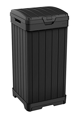 Keter 240770 Baltimore Outdoor Trash Can, Black
