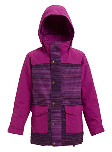 (Burton Girls Elstar Parka Jacket, Grapeseed Sunset Stripe/Grapeseed,)