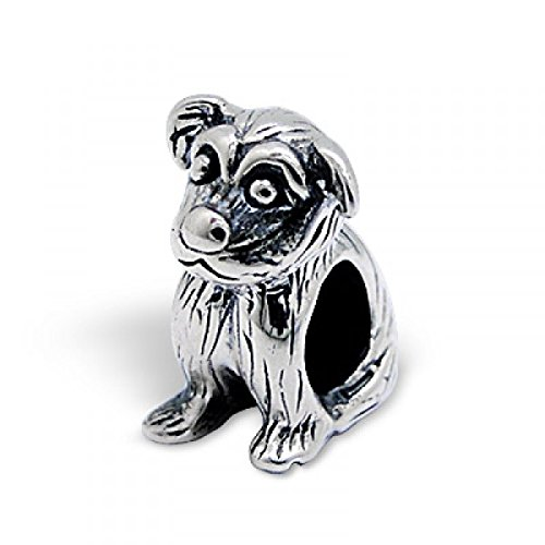 "Pro Jewelry .925 Sterling Silver ""Sitting Dog"" Charm Bead for Snake Chain Charm Bracelet 1543"