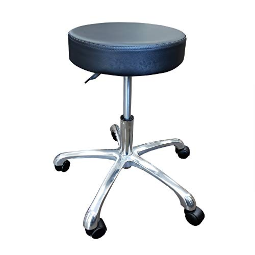 """14"""" Round Seat Wide Base Drafting Stool Rolling Swivel Chair Hydraulic Pneumatic Steel - Black"""