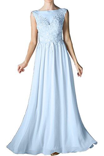 Brautjungfernkleid Linie Abendkleid lang Ivydressing Beliebt Spitze Damen Promkleid Rundkragen Chiffon Festkleid A Himmelblau qxvTgtw