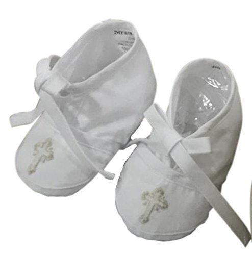 Ecru Crosses (Baby Booties Christening Baptism Infant white ecru embroidered cross Handmade by Strasburg Children)