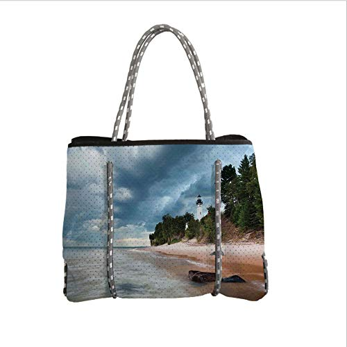 (Neoprene Multipurpose Beach Bag Tote Bags,Lighthouse Decor,Au Sable Lighthouse in Pictured Rock National Lakeshore Michigan USA,Women Casual Handbag Tote)