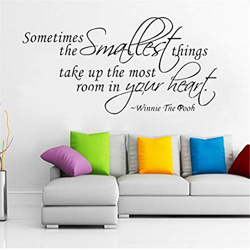 Wall Decal Removable Quote Decor Design Decal The Smallest Things Winnie The Pooh Decals Quote for Living Room Bedroom Nursery Kids Bedroom ()