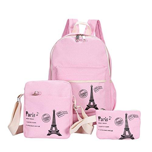 3 Lona Portátil Libre Sets Para Adolescentes Casual Bolso Mochilas Aire Viajes Bandolera Bolsos Mochila Pink Xinwcang Mano De Niños Niñas Escolares dqIxdU7
