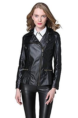 VANGULL Women Ladies Zipper Slim Biker Motorcycle PU Leather Jackets Punk Rock Coats