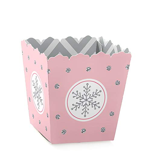 Pink Winter Wonderland - Party Mini Favor Boxes - Holiday Snowflake Birthday Party or Baby Shower Treat Candy Boxes - Set of 12]()