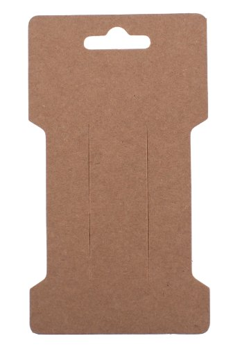 Trimweaver 100-Piece Rectangular Hair Clip Display Cards, Kraft Brown