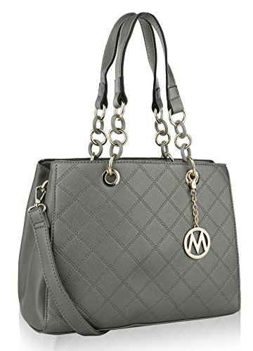n Shoulder Bag and Designer Tote Handbag by Mia K. Farrow (Dark Silver) ()