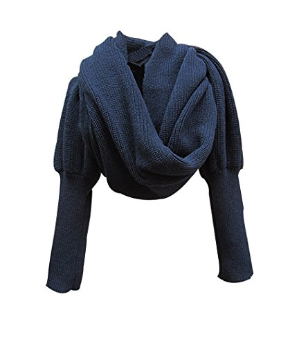 EUBUY Fashion Winter Warm Solid Color Knitted Wrap Scarf Crochet Thick Shawl Cape with Sleeve for Women and Men Navy Blue