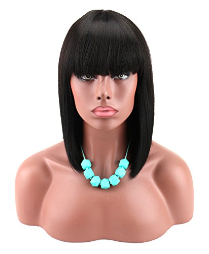 Kalyss Women's Black Color Short Blunt Bob Wig with Hair Bangs Yaki Synthetic Full Hair Wig Heat Resistant Short Straight Black Wig for Women