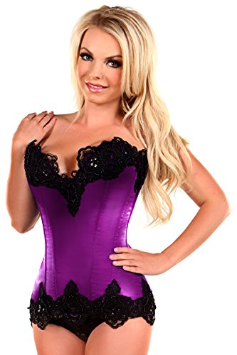 Daisy Corsets Women's Top Drawer Steel Boned Satin and Lace Beaded Corset, Purple, 5X