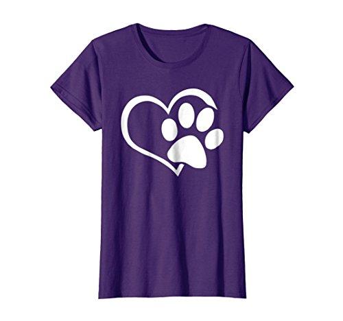 Womens Dog Puppy Shirt - I Love Dogs Paw Print Heart Cute Women Men XL Purple