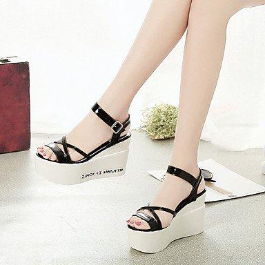 LvYuan Mujer Sandalias Confort PU Verano Confort Tacón Cuña Blanco Negro Plata 12 cms y Más Black