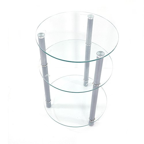 Tempered Glass Side Table APLOS Round End Table Three Tiers 15.75 L x 15.75 W x 22.83 H