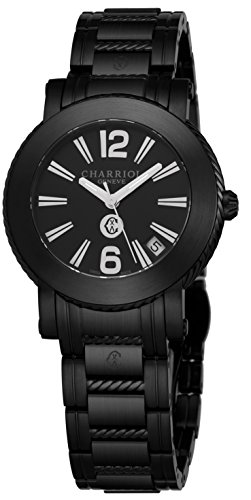 (Charriol Parisii Womens Black Stainless Steel Watch - 33mm Analog Black Face with Second Hand, Date and Sapphire Crystal Ladies Watch - Metal Band Swiss Made Quartz Watches for Women P33BM.P33BM.010)